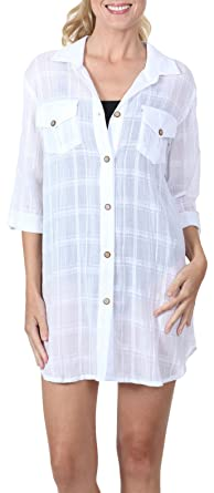 5b40293284 Image Unavailable. Image not available for. Color  Dotti Women s Wovens  Perfect Plaid Safari Shirt Dress Swim Cover Up ...