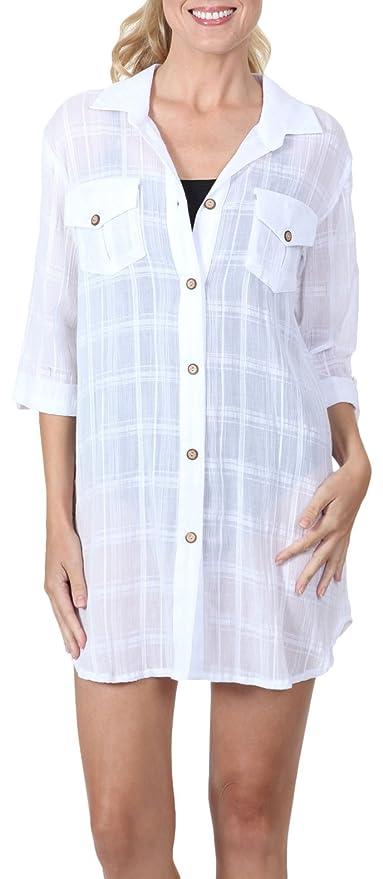 626702d5b3 Amazon.com  Dotti Women s Wovens Perfect Plaid Safari Shirt Dress Swim  Cover Up White S  Clothing