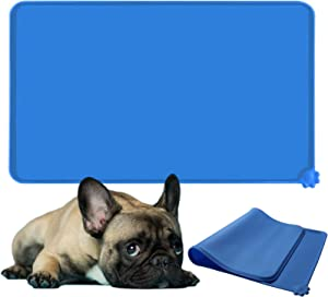 Scmkd Dog Cat Feeding Mat Silicone Pet Food Mat Non-Slip Cat Dog Bowl Mat Easy Clean Raised Edges Cat Dog Mat for Food and Water