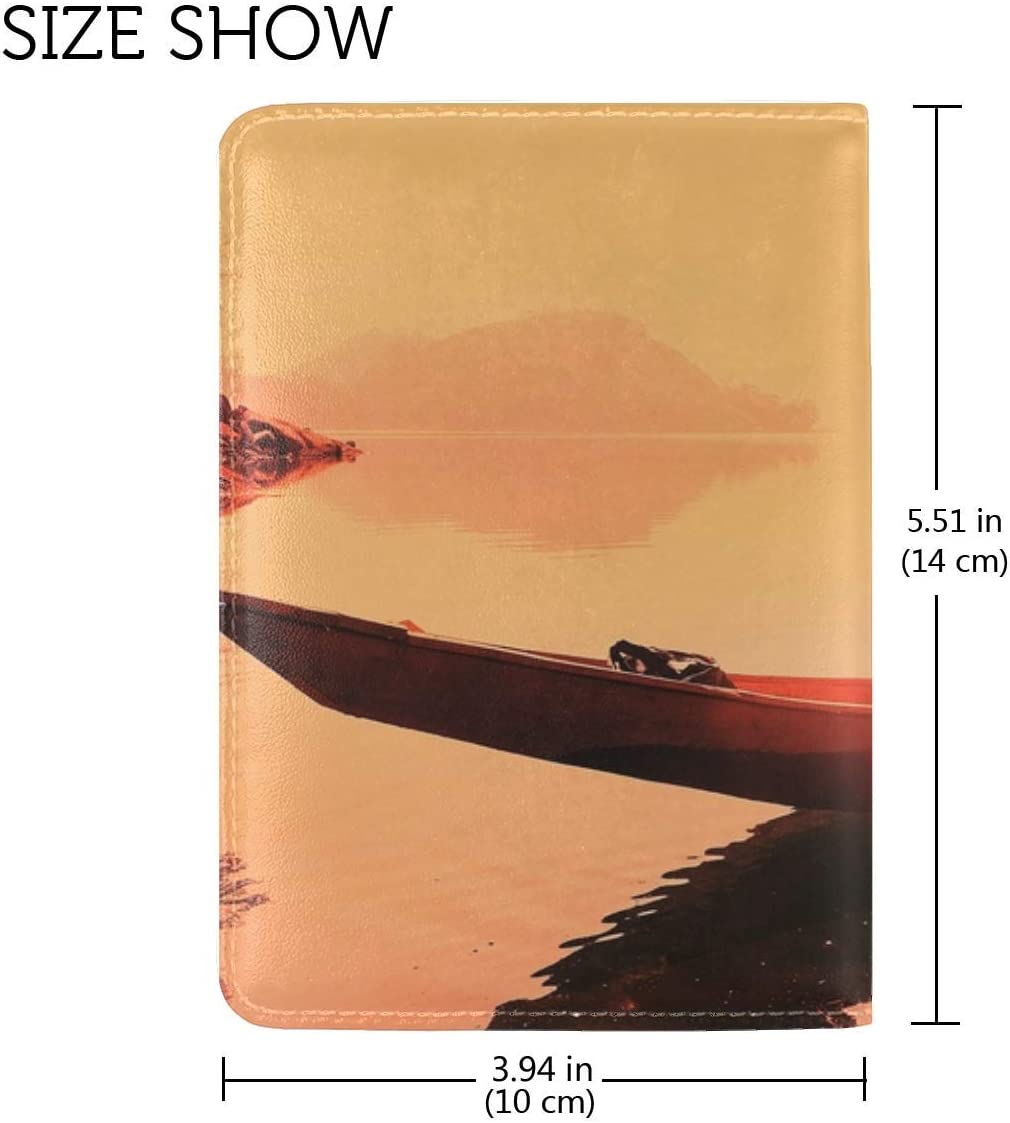JiaoL Boat Man Sunset Leather Passport Holder Cover Case Travel One Pocket
