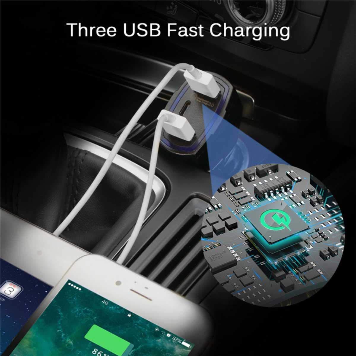 ULTRICS/® Cargador de Coche iPad iPhone X//8 Plus Universal Movil Rapida para Android Samsung S9//S8 Plus 36W 3 Puertos USB Tipo C Qualcomm Quick Charge QC 3.0 Rapido Cargadore Adaptador