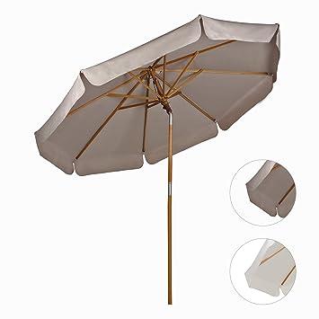 sekey sombrilla parasol de madera para terraza jardn playa piscina patio 270cm crudo crema - Sombrillas Para Jardin