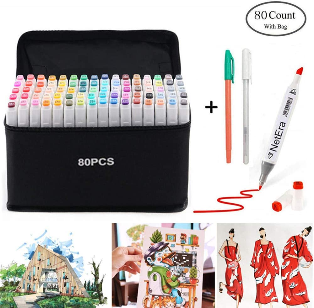 80 lápiz marcador de color, doble sugerencia texto marcador graffiti Pen, 80 colores para estudiante Comic artista diseño escuela dibujo marcador pluma arte suministros y bolsas de almacenamiento