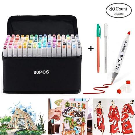 80 lápiz marcador de color, doble sugerencia texto marcador ...