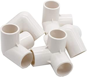 Pack of 5pcs 3 Way Tee PVC Elbow Fitting PVC Pipe Connector - Build Heavy Duty PVC Furniture Fitting Garde (1 Inch)