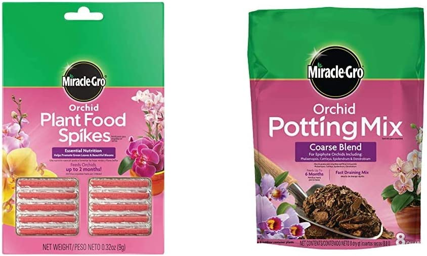 Miracle-Gro Orchid Plant Food Spikes and Orchid Potting Mix - Coarse Blend
