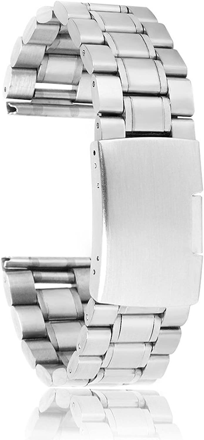 SODIAL(R) 22 mm Venda De Reloj De La Correa De Acero Inoxidable Solido con Hebilla del Despliegue - De Color Plata