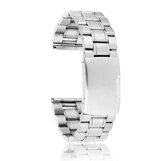 fe06775c8 SODIAL(R) 22 mm Venda De Reloj De La Correa De Acero Inoxidable Solido Con  Hebilla Del Despliegue - De Color Plata: Amazon.es: Relojes