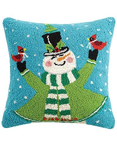 Jolly Snowman Stocking (Peking Handicraft Jolly Snowman Hook Wool Throw Pillow, Multicolored)