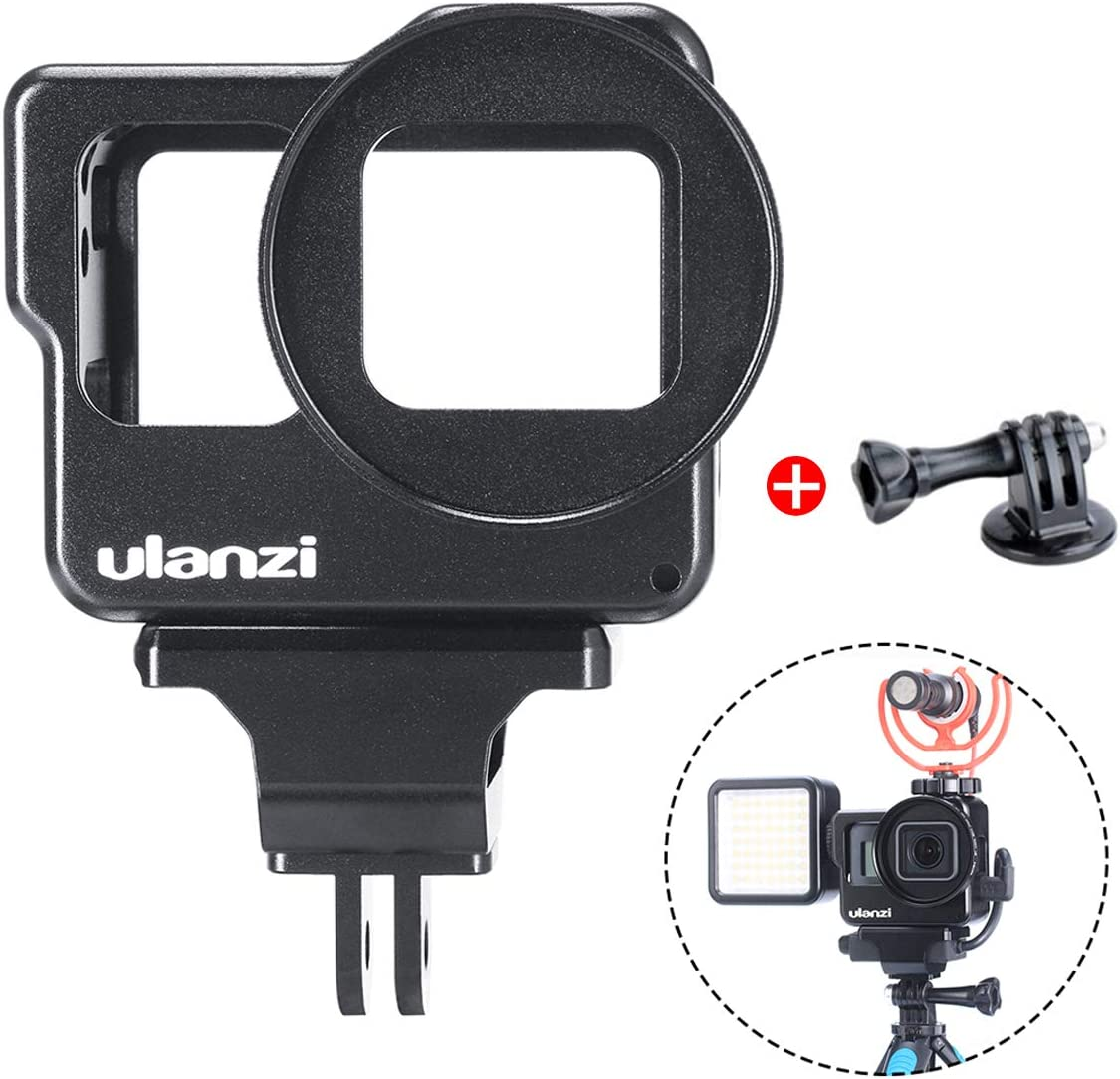 ULANZI V3 Aluminum Vlogging Housing Cage for Gopro Hero 7/6/5, Protective Multiunctional Metal Case Frame for GoPro Audio Mic Adapter 2 Cold Shoe Mount 1/4'' Go Pro Adapter