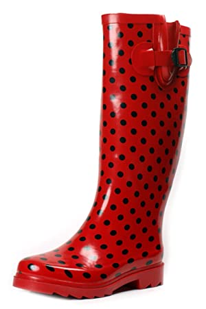 Womens Rubber Midcalf Knee High Rainboots Red Polka Dot 8