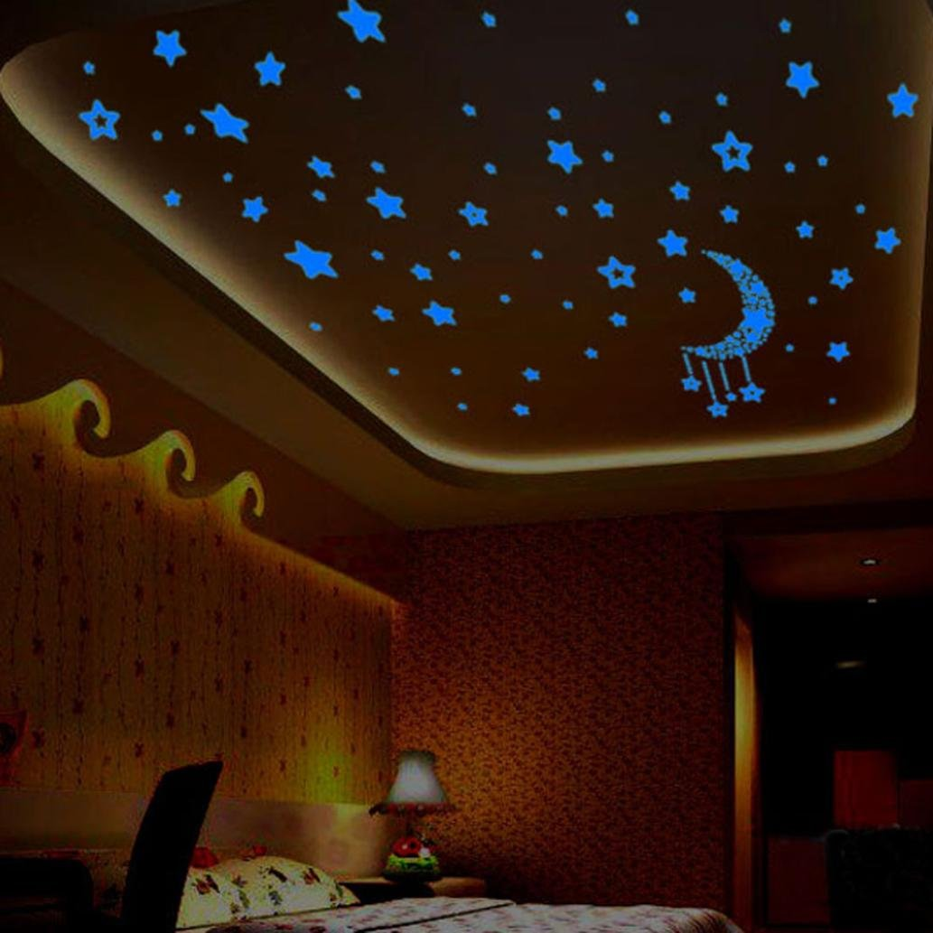 Tuscom A Set Kids Bedroom Fluorescent Glow In The Dark Stars Wall Stickers, (Blue)