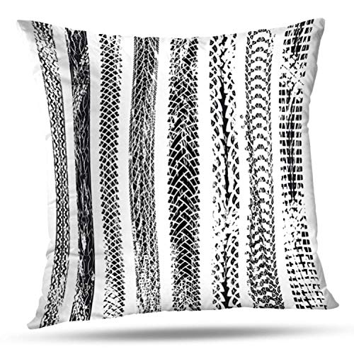 LALILO Throw Pillow CoversCollection Bicycle Tire Tracks Bike Track Mountain Wheel Tread Double-Sided Pattern for Sofa Cushion Cover Couch Decoration Home Bed Pillowcase 18x18 inch