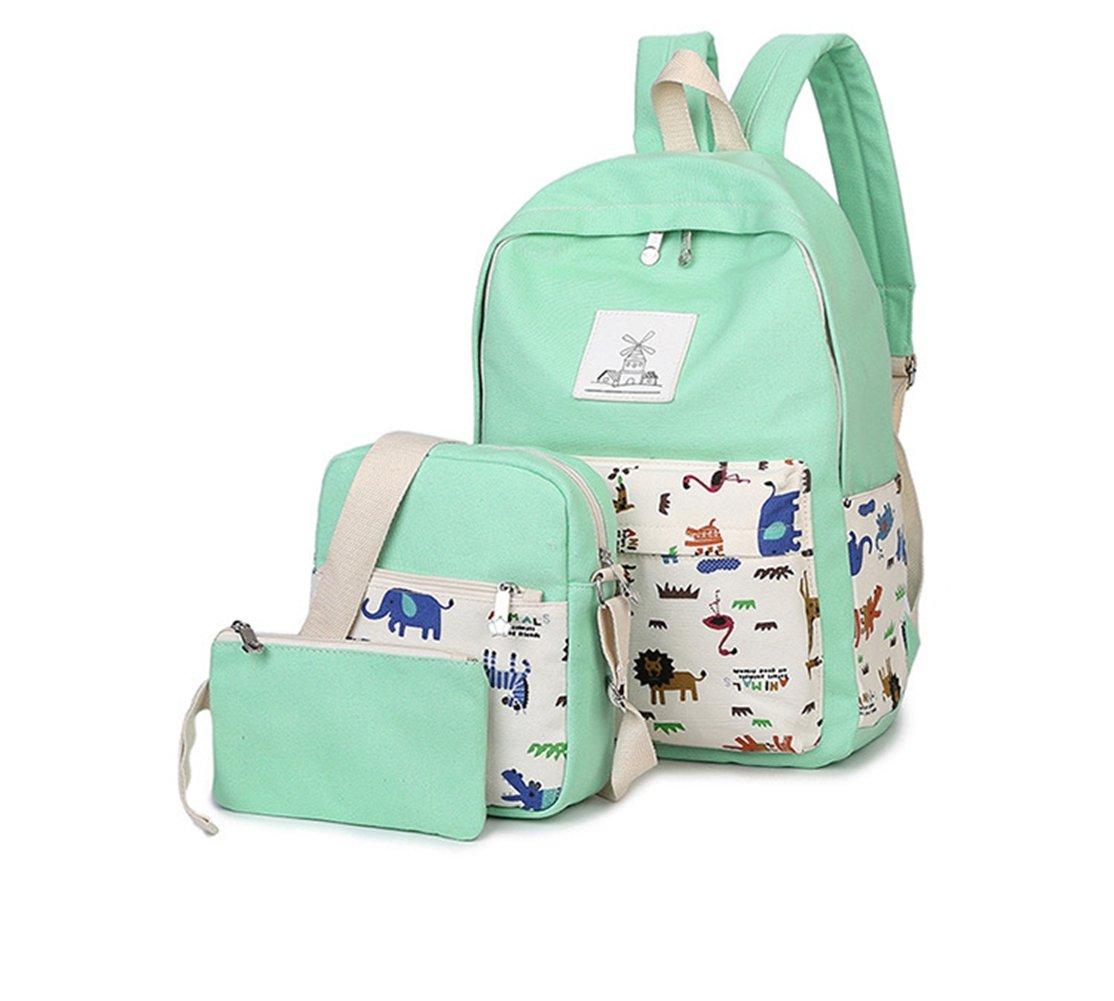 Zehui Women Canvas Backpack Rucksack Travel Shoulder School Messeger Purse Bag Set White Green