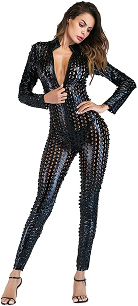 Wonder Pretty Mujer Latex Catsuit Catwoman cuero de imitación Wetlook Mono Bodysuit Clubwear Disfraces