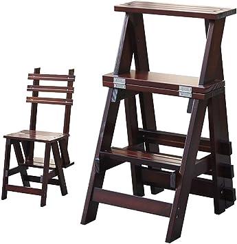 AINIYF Taburete de paso, Escalera de 2 niveles Taburete de madera maciza Escalera plegable Taburete antideslizante para interiores Escalera alta Escalera multifuncional de seguridad para escaleras, 17: Amazon.es: Bricolaje y herramientas