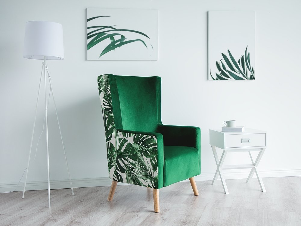 Beliani Upholstered Wingback Chair Fabric High Back Leaf Pattern Green Oneida
