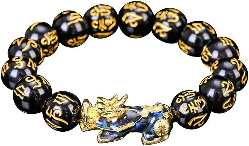 Pulsera de Cuentas talladas a Mano de Feng Shui Color Cambiado con joyería de Cuentas chapadas en Oro Amuleto Rico y Afortunado Brecelet