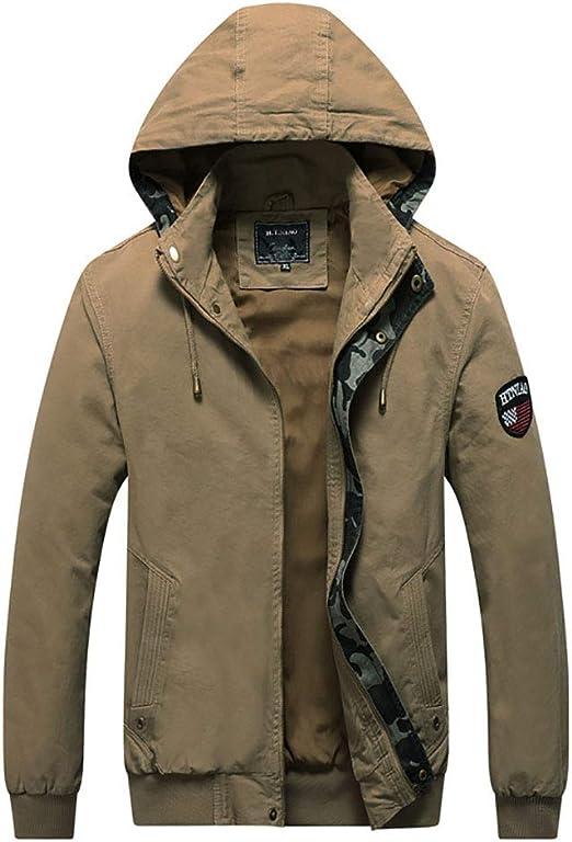 男性の暖かい貨物フード付きジャケット、カジュアルな軍用爆撃機ジッパージャケットコート、取り外し可能なフード付きカジュアルコート