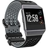 "Bossblue Compatible Fitbit Ionic Bands For Women Men Large Small,Soft Silicone Waterproof Breathable Replacement Accessories Sport Strap For Ionic Smartwatch.(Black/gray, Large(6.7""-8.4""))"
