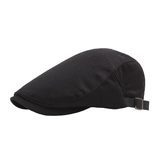 da8736eaa52 Simcat Men Classic Solid Color Cabbie Newsboy Flat Ivy Hat Beret Cap (Black)