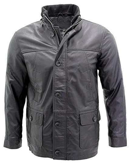 exquisite craftsmanship new york great discount for Men's Classic Warm Black Leather Jacket: Amazon.co.uk: Clothing