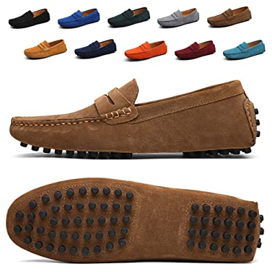 6c8f7573a10 TSIODFO Suede Loafers for Men Slip on Dress Shoes Breathable Leather Flat  Fashion Driving Shoes Penny