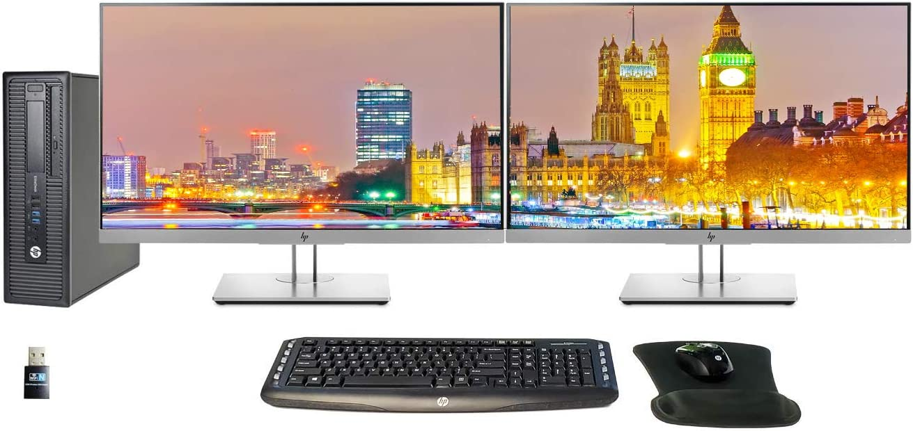 HP EliteDesk 800 G1 SFF Desktop Bundle with Intel Core i5-4570, 8GB DDR3, 250GB SSD, 2 x HP 24 Inch Monitors, Keyboard, Mouse, Mousepad, WiFi, and Windows 10 (Renewed)