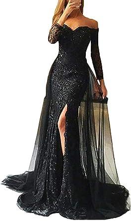 SELX-Women Long Mermaid Evening Dress Sequins Off Shoulder Prom Gowns