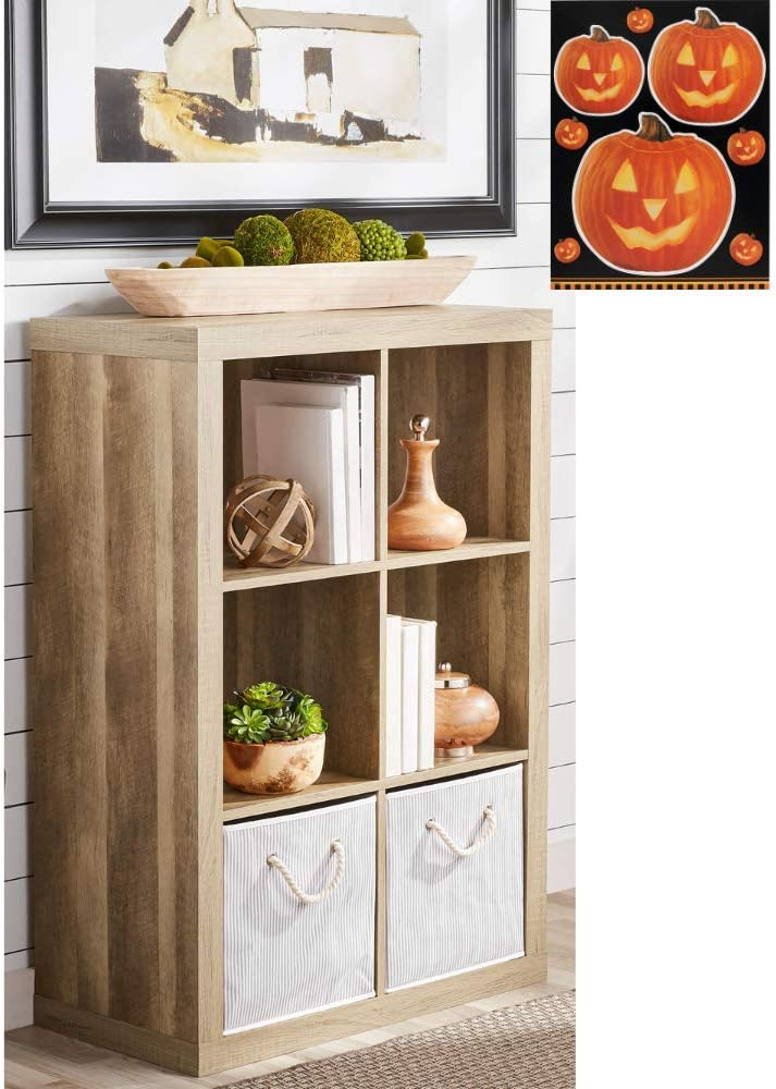 Better Homes and Garden 6-Cube Home and Office Decorative Organizer with Exclusive Bundle, Weathered