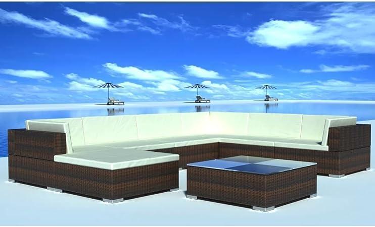 Tidyard Conjunto Muebles de Jardín de Ratán 24 Piezas Sofa Jardin Exterior Sofas Exterior Jardin Ratan Conjunto Jardin para Jardín Terraza Patio en Poli Ratán Marrón: Amazon.es: Hogar