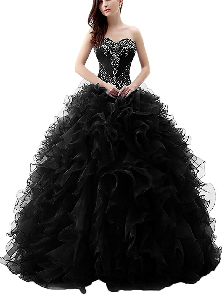 cb8f4dbd899 Onlybridal Women s Organza Strapless Embroidery Beaded Ruffle Ball Gown 15 Dresses  Quinceanera Dresses at Amazon Women s Clothing store
