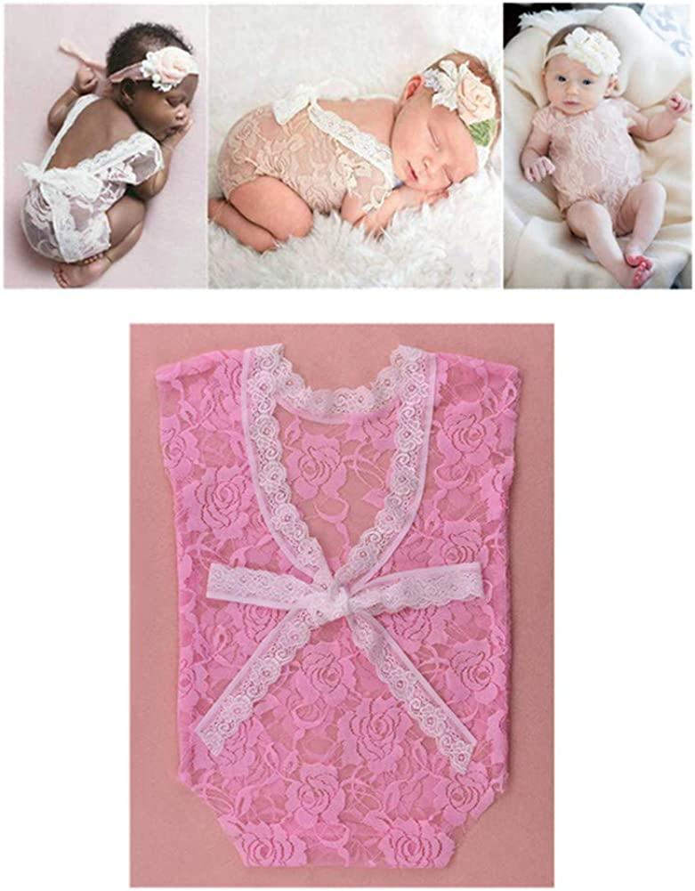 Newborn Baby Girls Photography Props Photo Shoot Outfits Lace Romper