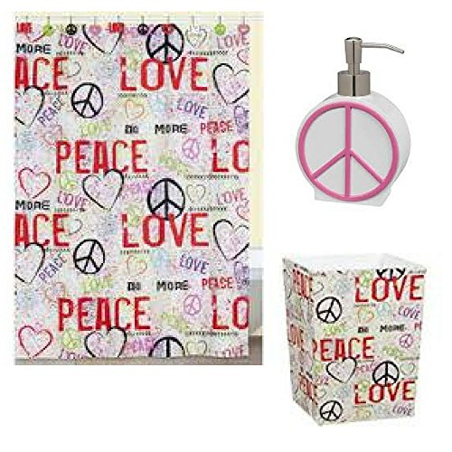 Creative Bath Products Graffiti Shower Curtain Bundle Includes: 1 Shower Curtain, 1 Matching Waste Basket and 1 Soap/Lotion Dispenser. Retro 1970 Theme Fun. Peace and Love Drawings! (Creative Bath Graffiti)