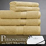 Spring Bliss Collection 6 Piece Bath Towel Set Super Soft & Luxurious 100% Egyptian Cotton - Available in Various Colors & Embroidery Styles by Luxor Linens