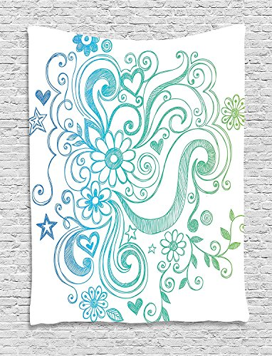 asddcdfdd Flowers Tapestry, Rainbow Colored Ombre Sketch Design with Florals Blossom Ivy Leaves, Wall Hanging for Bedroom Living Room Dorm, 60 W x 80 L Inches, Blue White Turquoise Green