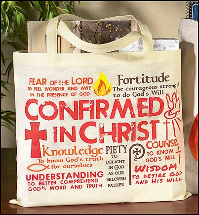 Confirmed in Christ Gifts of the Holy Spirit 14 Inch Nylon Book Bible Tote Bag Purse