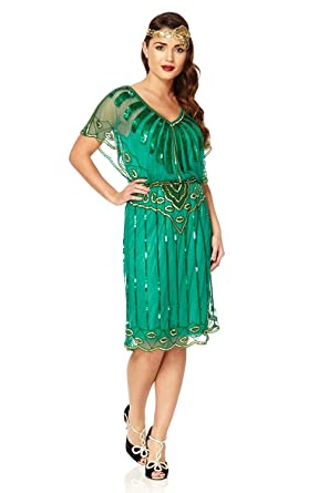 gatsbylady london Angel Sleeve Vintage Inspired Flapper Dress in Emerald Green (US4 EU36)