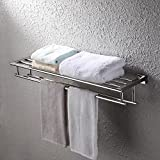 KES 30-Inch Large Towel Rack with Shelf Stainless Steel Double Towel Bar Dual Hanger Storage Organizer Modern Square Style Wall Mount Polished Finish, A2112S75