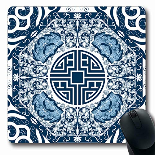 (Ahawoso Mousepads Oriental Blue Pattern Peony Nature Pottery Abstract Lotus Porcelain Antique Design Gzhel Oblong Shape 7.9 x 9.5 Inches Non-Slip Gaming Mouse Pad Rubber Oblong Mat)