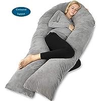"""QUEEN ROSE 65"""" Full Body Pregnancy Pillow - U-Shaped Maternity Pillow,Comes Velvet Cover,Gray"""