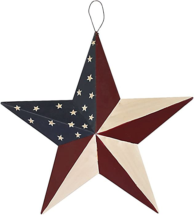 """E-view Metal American Flag Barn Star Decor Patriotic Mounted 3D Wall Art July of 4th Decoration 12""""-B"""