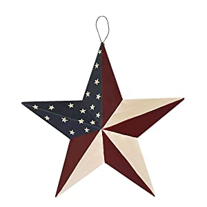Americana Metal Barn Star, American Patriotic Star Wall Decoration Outdoor Indoor Hanging Wall Decor Star Ornament 12inch (American Barn Star-C)