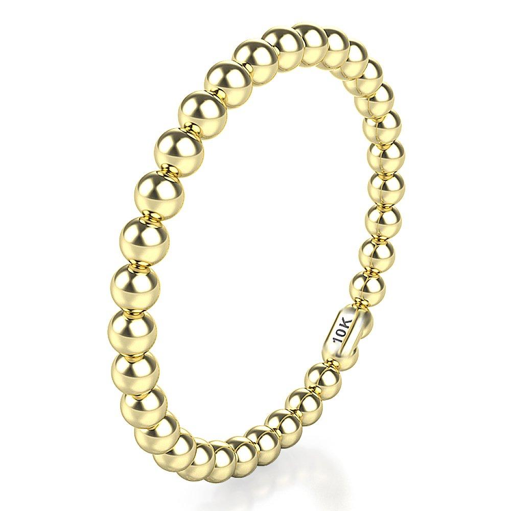 Sz 6.0 Solid 10K Yellow Gold 2MM Eternity Bead Wedding Band Ring