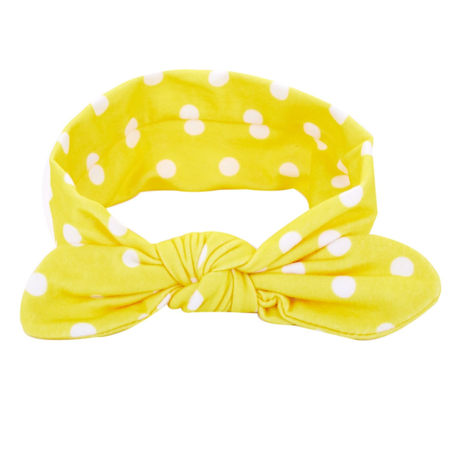 SODIAL Hairband,Baby Ears Rabbit Polka Dot Elastic Bow Turban Knitted HeadBand (Yellow)