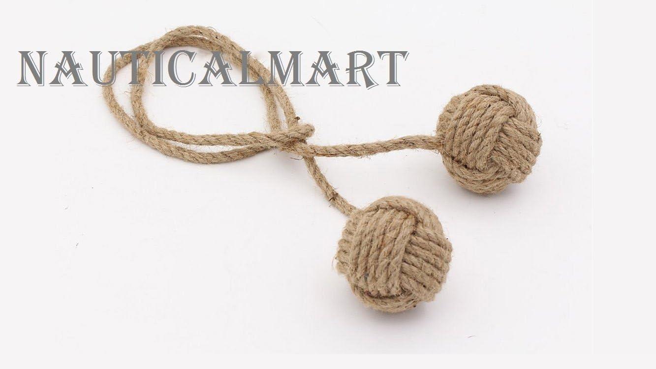 Set of 6 Nautical rope curtain tie backs nautical nursery window treatments nautical monkey fist knot tie backs