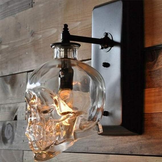BARBEDINGROSE Lámpara De Pared Retro del Cráneo, Apliques Barra Decorativa De La Escalera del Pasillo del Vidrio De Viento Creativo Industrial del Desván: Amazon.es: Hogar