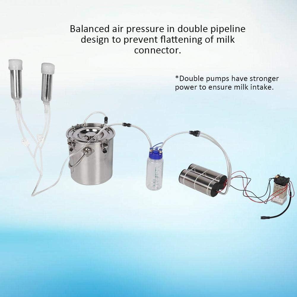 5L Ziegen-Schaf-Kuh-Melk-Kit Tragbare elektrische Impulsmelkmaschine mit 2 Zitzenbechern lebensmittelgeeignet HEEPDD Melkmaschine