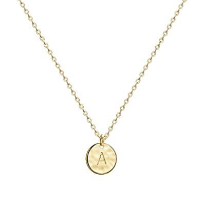 b2582b13f Valloey Gold Initial Pendant Necklace, 14K Gold Filled Disc Double Side  Engraved 16.5