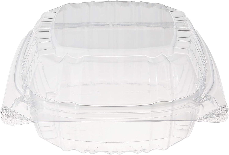 DART Hinged Lid Plastic Container, Medium, Clear